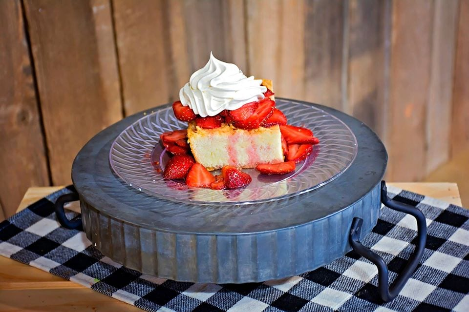Strawberry shortcake on a tray