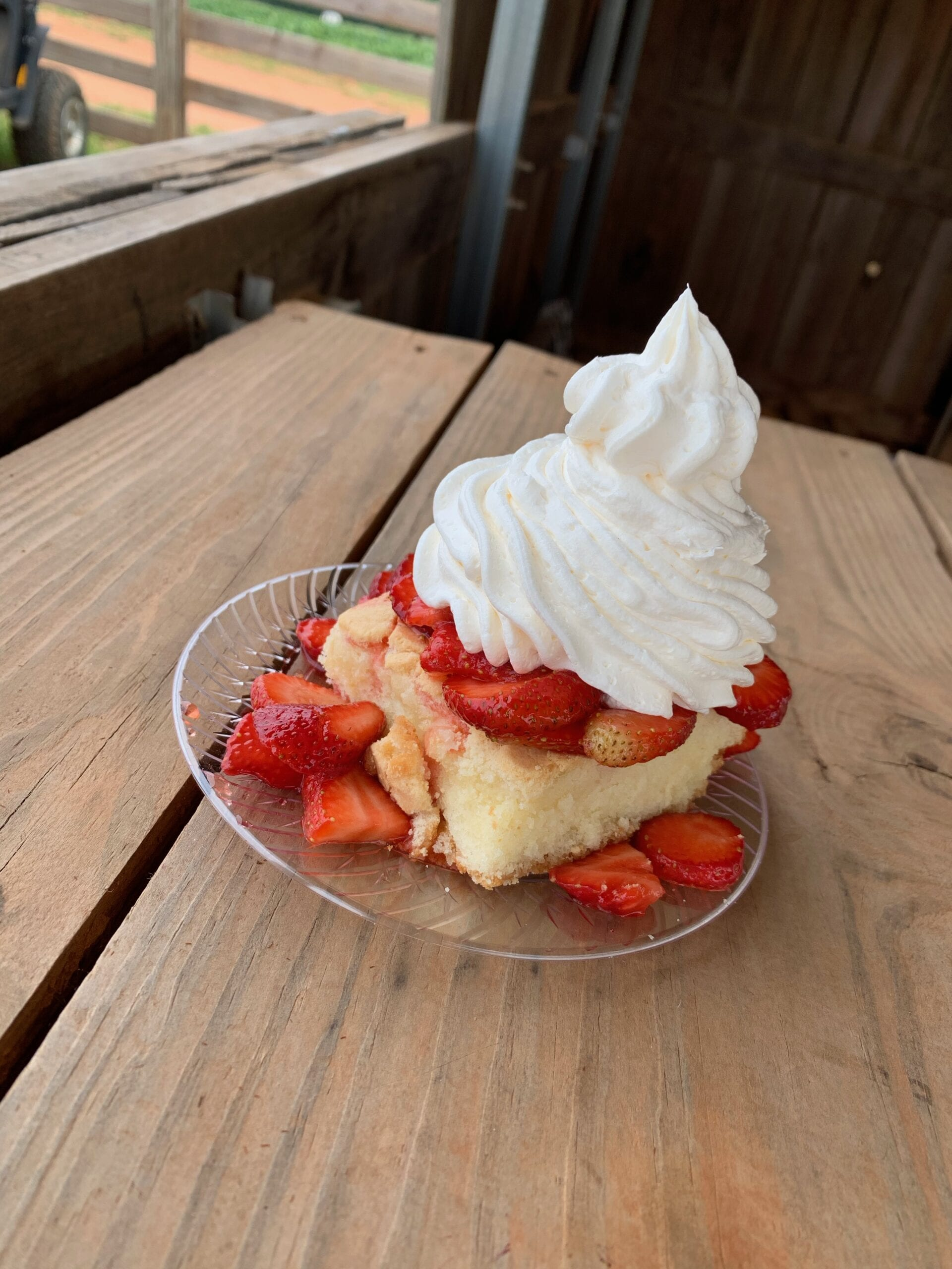 strawberry shortcake and whipped cream on a plate
