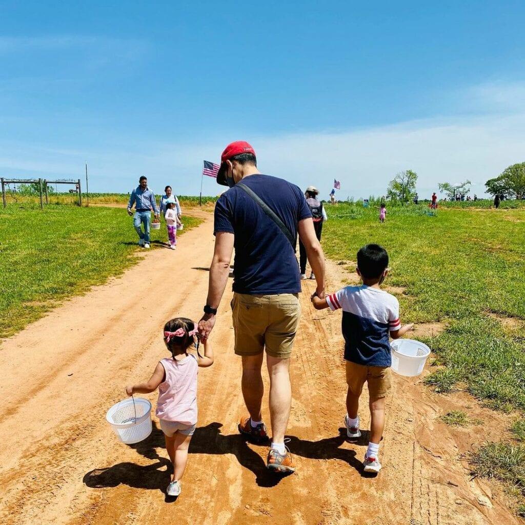 a father and 2 children walking on a farm path